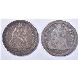 (2) DIMES: 1841-O LIBERTY SEATED DIME F,