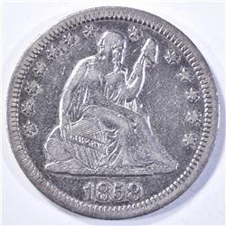 1858 SEATED LIBERTY QUARTER  XF