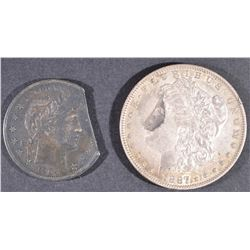 1887-O MORGAN DOLLAR AU & 1904 BARBER HALF XF