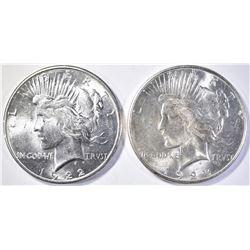 1922-S & 1923-S PEACE DOLLARS  CH BU