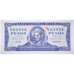 1965 GOLD CONVERTIBLE 20 PESO CUBA SPECIMEN