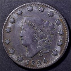 1824 MATRON HEAD LARGE CENT XF