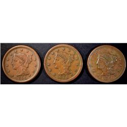 1850, 51 & 56 XF LARGE CENTS