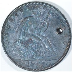 1855-O WITH ARROWS SEATED HALF DOLLAR, XF holed