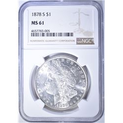 1878-S MORGAN DOLLAR, NGC MS-61