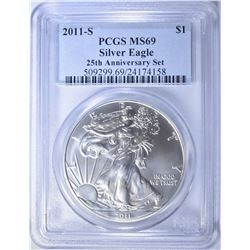 2011-S 25th ANNIV. SET AMERICAN SILVER EAGLE,
