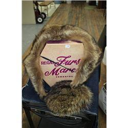 Hat Box - Regal Furs by Marcus of Edmonton w/Fur Hat & Fur Collar