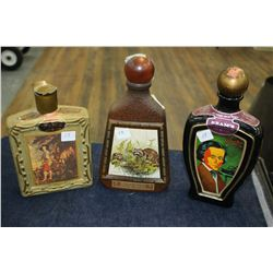 Jim Beam Decanters (3) w/3 Different Decals