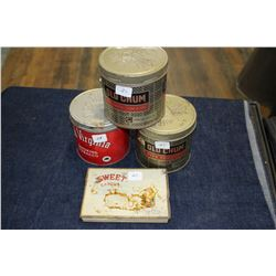 4 Tobacco Tins - (2) Old Chum; (1) Old Virginia; (1) Sweet Caporal - Flat Pack of 50