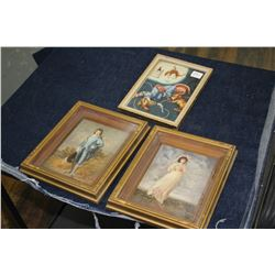 Small Blue Boy; Pink Girl & Sleeping Cowboy Framed Pictures