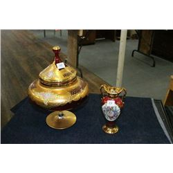 Red Pedestal Dish (w/Gold Paint & Inlaid Flowers) and a Limoges Bud Vase