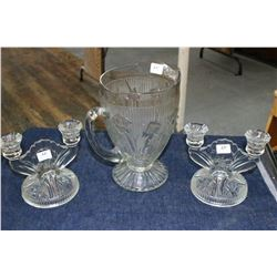 Iris & Herringbone Water Pitcher (Clear Glass)