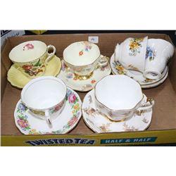 6 China Cups & Saucers - Royal Vale, Paragon, Colclough & Foley