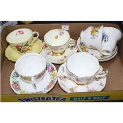 6 China Cups & Saucers - Royal Vale, Paragon, Colclough & Foley