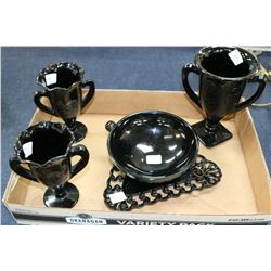 5 pcs. of Black Glass (Goblets, Tray & Dish)