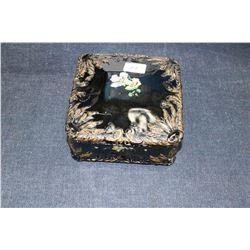 Square Black Glass Trinket Box w/Lid