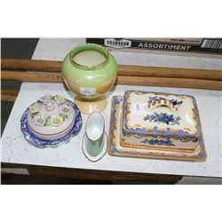 Covered Butter Dish (Japan); Royal Winton Vase; Toothpick Holder & a Trinket Dish (Germany) and A Ro
