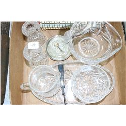1 Old Walter w/Spoons; Swan Dish; Candle Holders & Cream and Sugar on a Tray