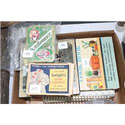 3 Old Cookbooks; a Bar of Sunlight Soap (in original box) & 2 Decks of Cards