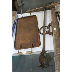 Old Auger w/Wooden Handle; a Yoke and a Cast Iron Skillet (missing 1 wooden handle)