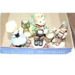 2 Goebel and 1 Japan Figurines and an Owl Magnifying Glass