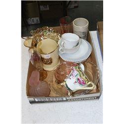 Flat of Misc. Glass Items - Pink Perfume Container, Beer Mug (England), Marmalade Pot (England), etc