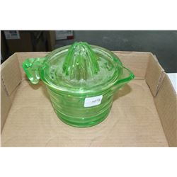 Green Depression Glass Juicer (Old) with Green Glass Measuring Cup Bottom