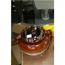 Bean Pot (approx. 3 gallon) from Taiwan - with Lid - No Crack or Chips