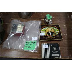 Tin Blasting Box Lid; Cigarillo Tin; Old Marcovitch Black & White Cigarette Tin and a John Simmons C