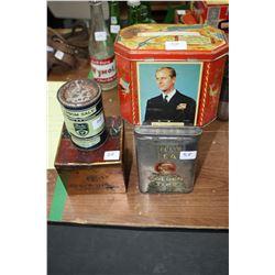 Tetleys Tea Tin; a Bovril Tin; an Epsom Salt Tin and a Royalty Tin