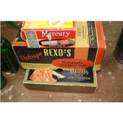 3 Collectible Boxes - Moir's Chocolate, Mercury Cigarillo and Rexo's