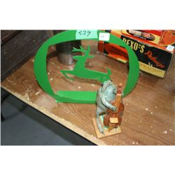 Green Deer Stand/Book End and a Real Taxidermized Frog with a Bass Fiddle