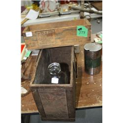 Kraft Cheese Box (from Outremont, Quebec); an Old Wooden Ammo Box and an Avalon Milk Bottle
