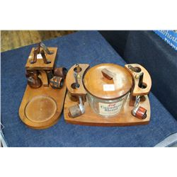 4 Pipes on a Stand w/Pipe Tobacco Jar & 4 Pipes on a Stand
