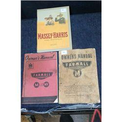 2 Farmall Manuals and a Massey (Circa 1914) Catalog