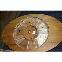 Wooden Serving Tray with Glass Dishes