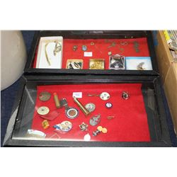 Flat of Misc. Costume Jewelry - Lapel Pins, Necklaces, Earrings, Broaches and an Esso Lighter (has 1