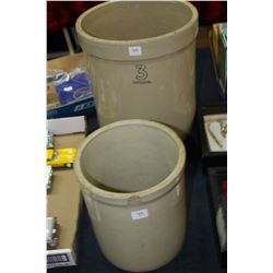 2 Medalta Crocks - a 3 Gallon (w/Crack down the side) and a 1 Gallon (Chipped on the Top) - No Lids