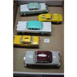 Flat of 5 Metal Die Cast Collector Cars  ('51 Ford Custom Crestliner Sedan; '57 Chev Bel Air; '58 Fo