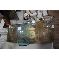 Flat of 4 Jars (Ball Perfect Mason - Green; a Perfect Seal - Clear Glass; a Mid West - cracked & a W