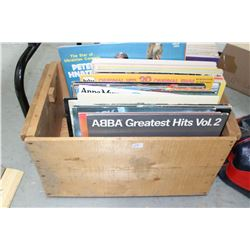 Monashee Wood Box with Approx. 50 LPs - Boney M, Abba, Meatloaf, Fleetwood Mac, etc.