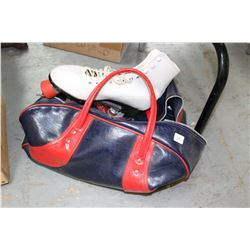 Tote Bag Containing a Pair of 4 Wheeled Roller Skates - Size 10