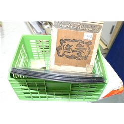 Green Container w/(5) 78 Records and a Cigar Box