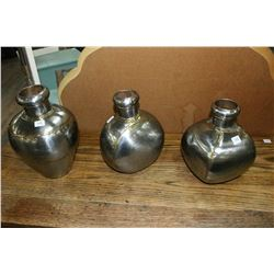 3 Metal (Brass) Vases w/Soldered Joints - Made in India