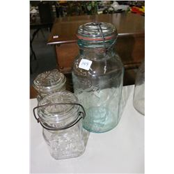 2 Pint Jars (1 is Turning Purple) and 1 Green Wire Top Preserve Jar