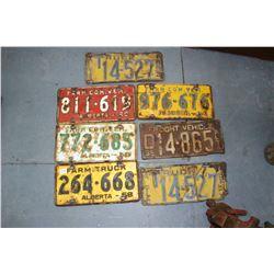 Set of 1933 Alberta Truck License Plates; 1935 Freight Alberta Plate; 1958, 1959, 1960, 1961 Alberta