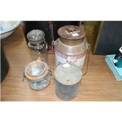 2 Wire Seal Canning Jars (1 is a Perfect Seal - Turning Purple) & 2 Collector Tins (1 - Melrose Coff