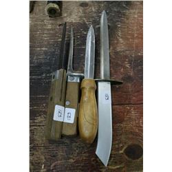 "2 Dexter Knives w/Wooden Handles; 1 Knife w/14"" Blade & Metal Handle and 1 Other Knife"