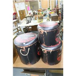 3 Storage Stools In One w/Leather Covered Tops