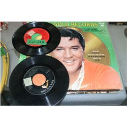 6 Elvis 33 rpm Albums and 2 - 45 rpm Records
